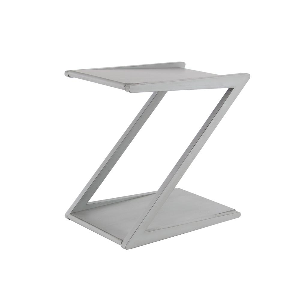 Litton Lane White Z Shaped Accent Table 90635 The Home Depot