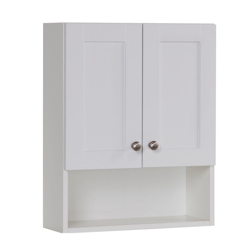 W X 25 3/5 In. H X 7 1/2 In. D Over The Toilet Bathroom Storage Wall Cabinet  In White DMOJ21COM W   The Home Depot