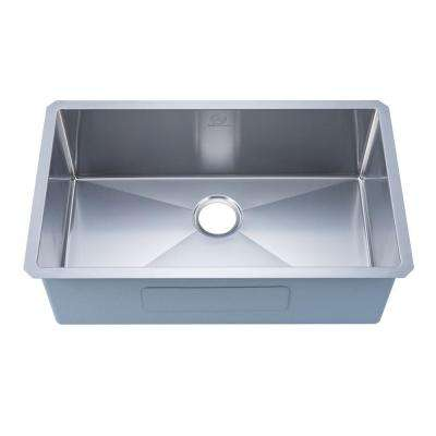NationalWare Undermount 18-Gauge Stainless Steel 30 in. Single Bowl Kitchen Sink in Stainless Steel with Strainer