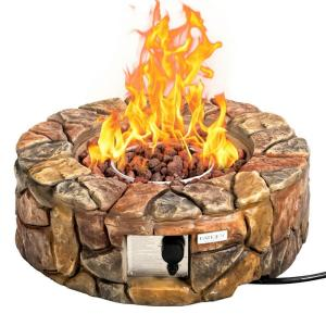 Brown 40,000 BTU 28 in. W Stone Gas Fire Stove Pit for Outdoor Patio Garden Backyard