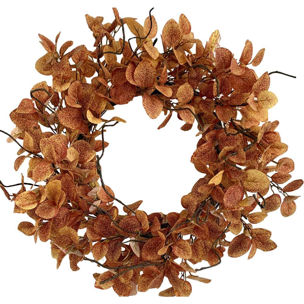 """24"""" D Orange Eucalyptus Fall Artificial Harvest Wreath Unlit"""
