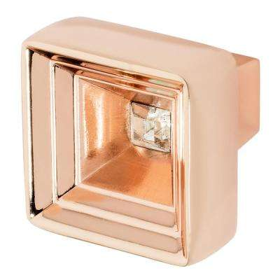 Hidden Treasure 1-1/16 in. Rose Gold with Clear Crystal Cabinet Knob