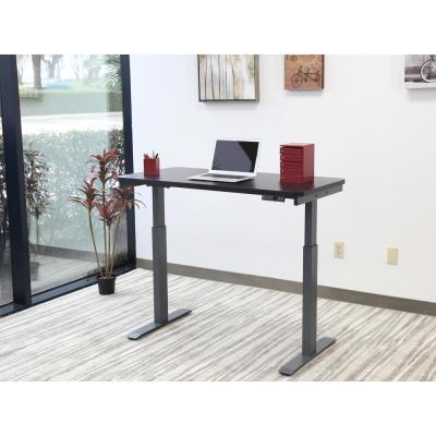 48 in. Rectangular Black 1 Drawer Standing Desk with Adjustable Height Feature