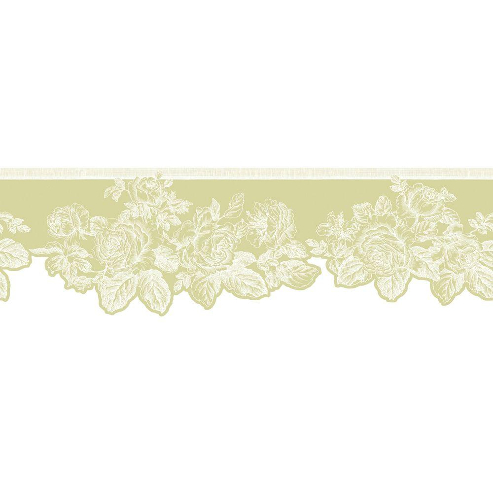The Wallpaper Company 8 in. x 10 in. Green Pastel Rose Border Sample