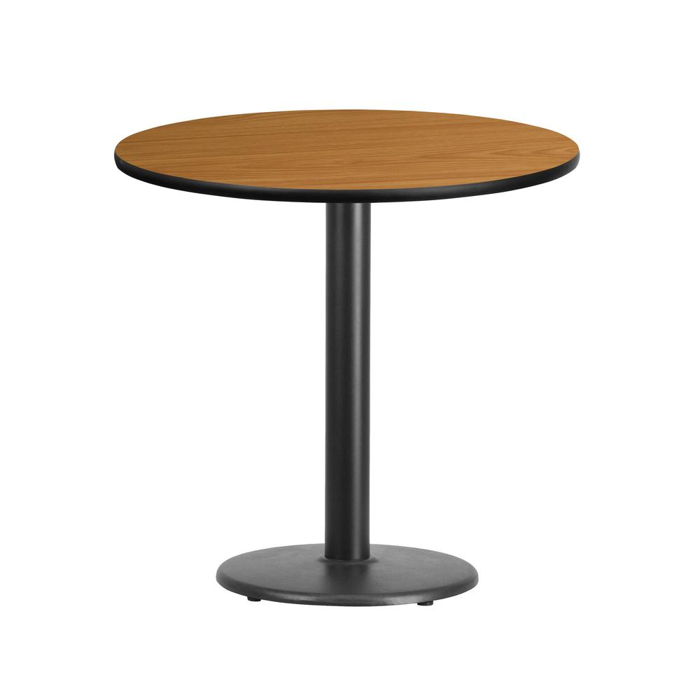Etonnant Round Natural Laminate Table Top With 18 In. Round Table Height Base
