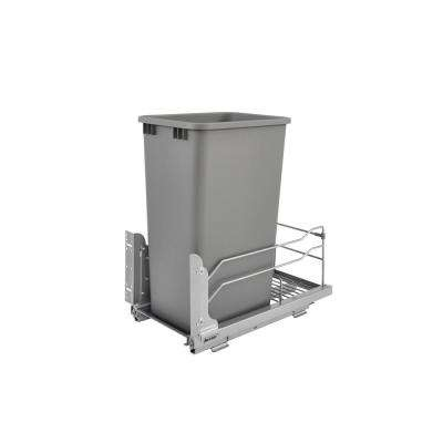 22.875 in. H x 10.875 in. W x 22.25 in. D Single 50 Qt. Pull-Out Silver Waste Container with Soft-Close Slides