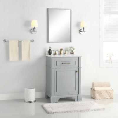 Melpark 24 in. W x 20 in. D Bath Vanity in Dove Grey with a Cultured Marble Vanity Top in White with White Sink