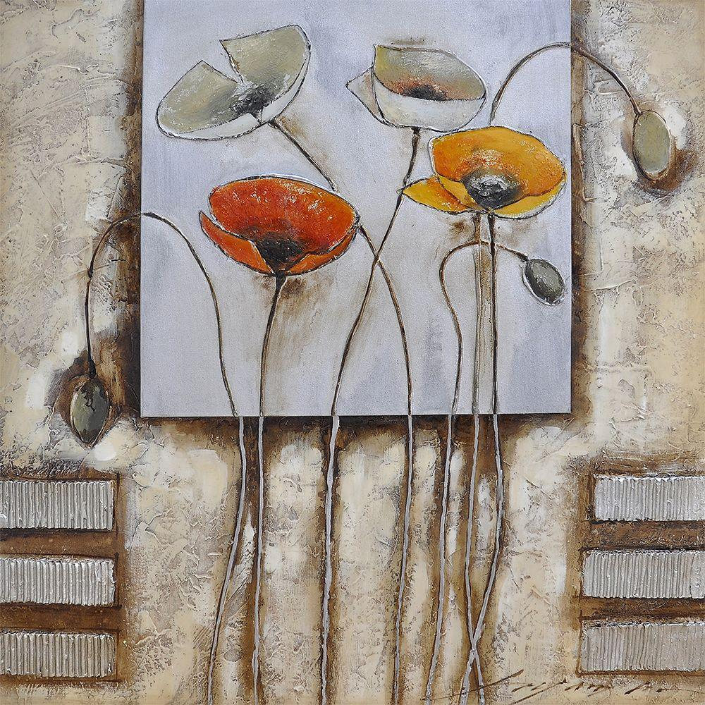 """Yosemite Home Decor 28 in. x 28 in. """"Poppies For You I"""" Hand Painted Contemporary Artwork"""