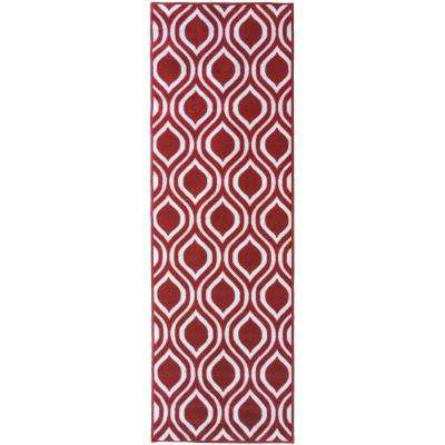 Rose Collection Contemporary Moroccan Trellis Design Red 2 ft. x 7 ft. Non-Skid Runner Rug