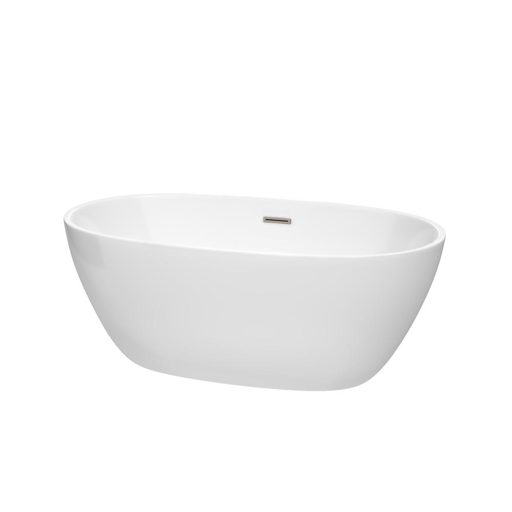 Wyndham collection juno 4 9 ft acrylic flatbottom non for 4 foot bath tub