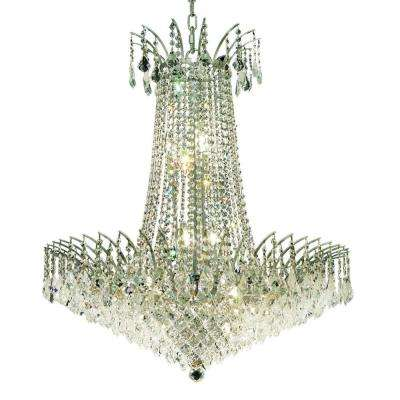16-Light Chrome Chandelier with Clear Crystal
