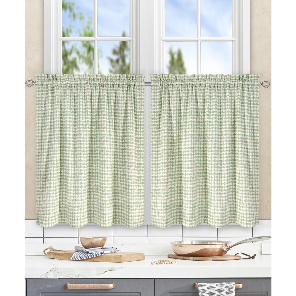 Davins Spa Cotton Twill Tailored Tier Curtain - 56 in. W x 24 in. L