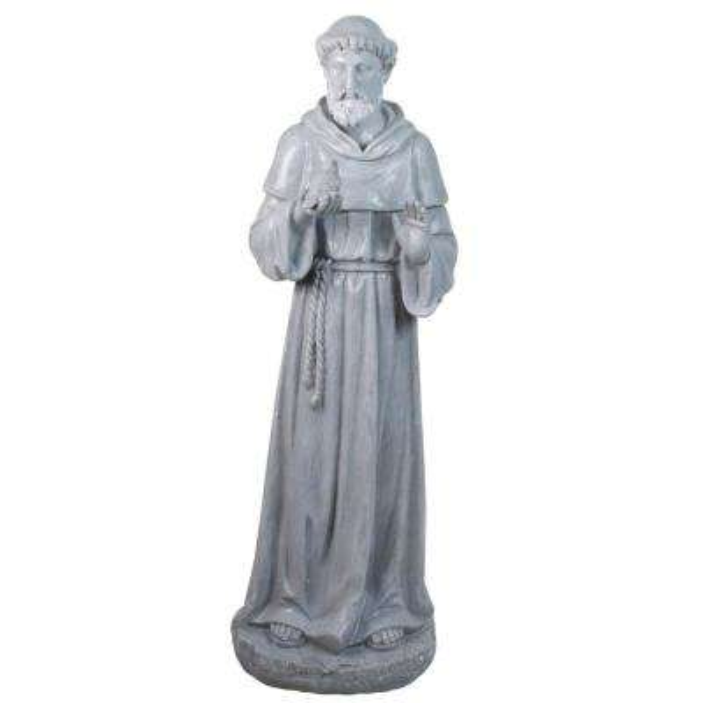 28 in. St. Francis Holding a Bird Outdoor Garden Statue