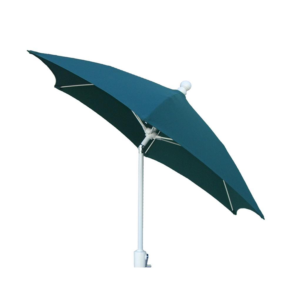 Null 7.5 Ft. Patio Umbrella With 2 Piece White Pole Tilted And Forest Green