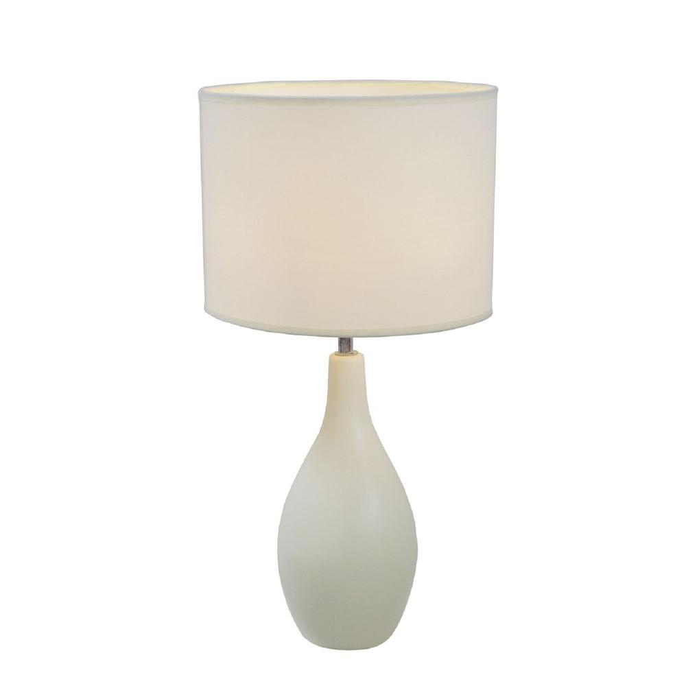 Simple Designs 19 in. Off White Oval Bowling Pin Base Ceramic Table Lamp with Fabric Shade