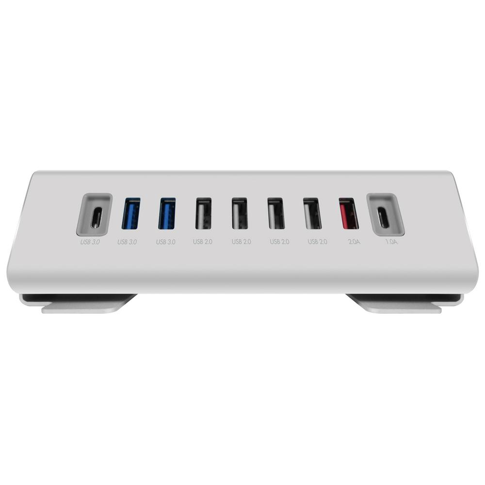 Macally 9-Ports Hub/Charger USB-A Computer, Silver