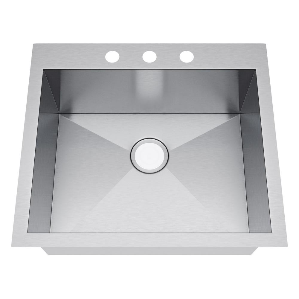 all in one drop in stainless steel 25 in  3 hole stufurhome nationalware drop in stainless steel 25 in  2 hole      rh   homedepot com