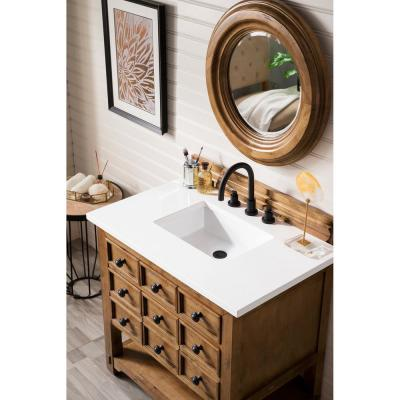 Malibu 36 in. Single Bath Vanity in Honey Alder with Quartz Vanity Top in Classic White with White Basin