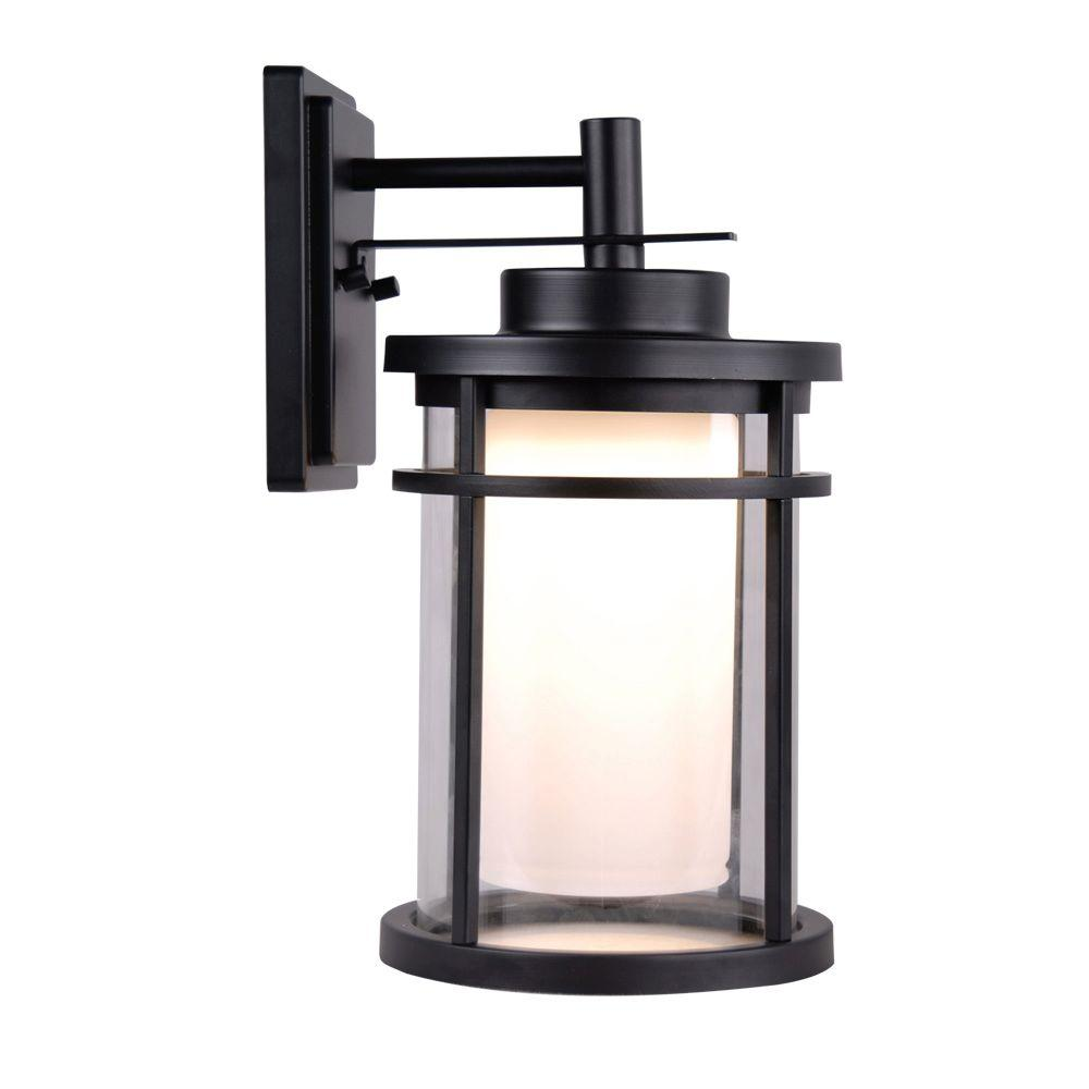 Home Decorators Collection Black Outdoor LED Medium Wall Light  sc 1 st  The Home Depot : outdoor wall lights led - www.canuckmediamonitor.org