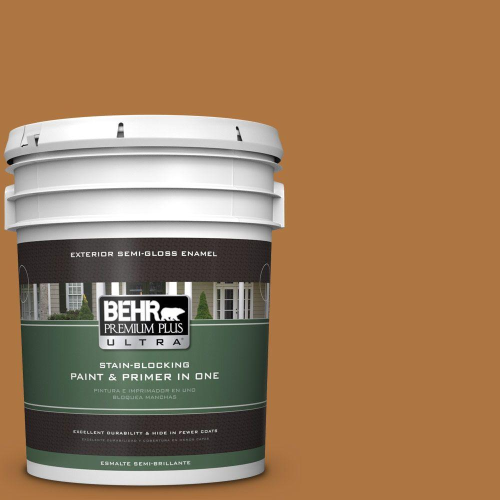 BEHR Premium Plus Ultra 5-gal. #M250-7 Blonde Wood Semi-Gloss Enamel Exterior Paint, Yellows/Golds