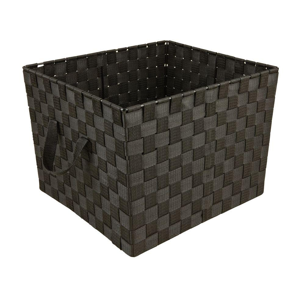 Simplify 15 in. x 10 in. 730 g Large Woven Strap Storage Tote Bin with Handles in Black