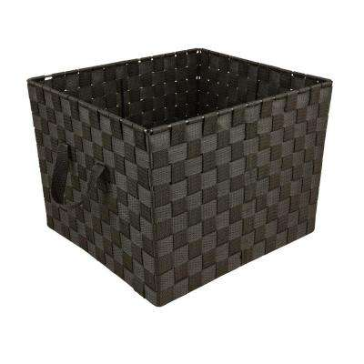 15 in. x 10 in. 730 g Large Woven Strap Storage Tote Bin with Handles in Black