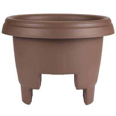 Deck Rail Planter 12 in. Chocolate Plastic Deck Rail Planter