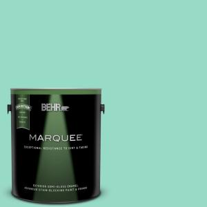 1 gal. #MQ4-17 Pageant Green Semi-Gloss Enamel Exterior Paint and Primer in One
