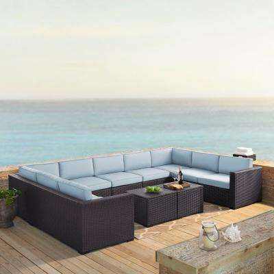 Biscayne 9-Person Wicker Outdoor Seating Set with Mist Cushions - 4 Loveseats, 1 Armless Chair, 2 Coffee Tables