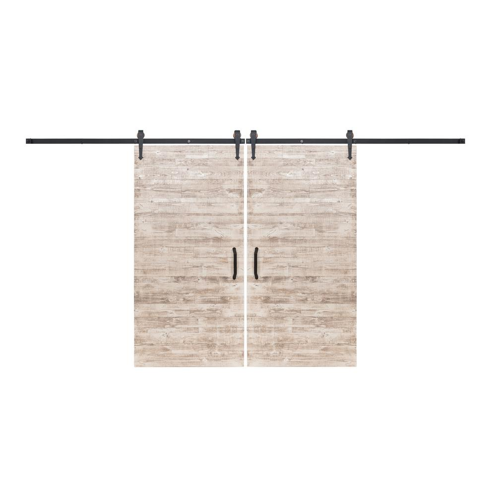 Rustica Hardware Bi Parting 42 In X 84 In Rustica Reclaimed White Wash Barn Doors With Oil