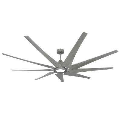 Liberator 82 in. LED Indoor/Outdoor Brushed Nickel Ceiling Fan and Light with Remote Control