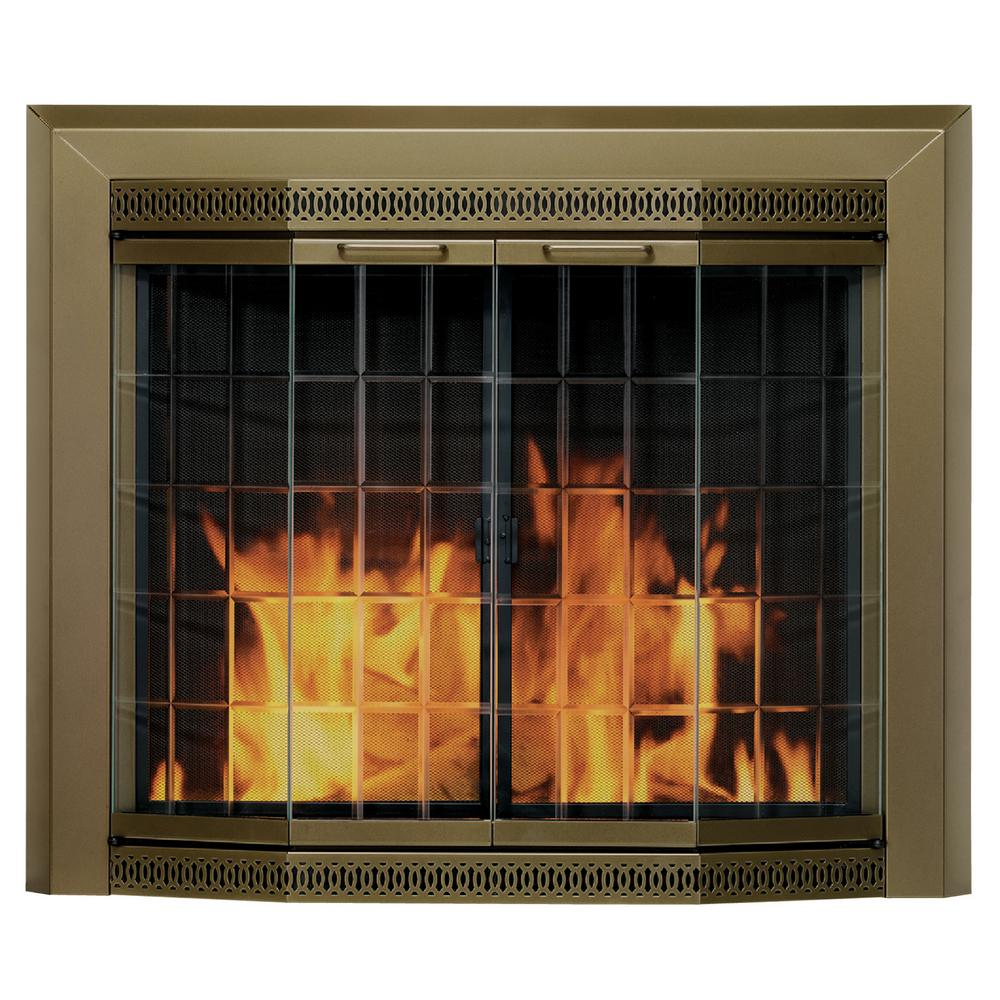 The Pleasant Hearth Grandior Bay Series Small Fireplace Glass Doors assist in reducing heat loss or cool air loss up the chimney by as much as 90 percent. These decorative