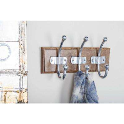 14 in. x 8 in. Modern Brown Wood and Aluminum Wall Hook