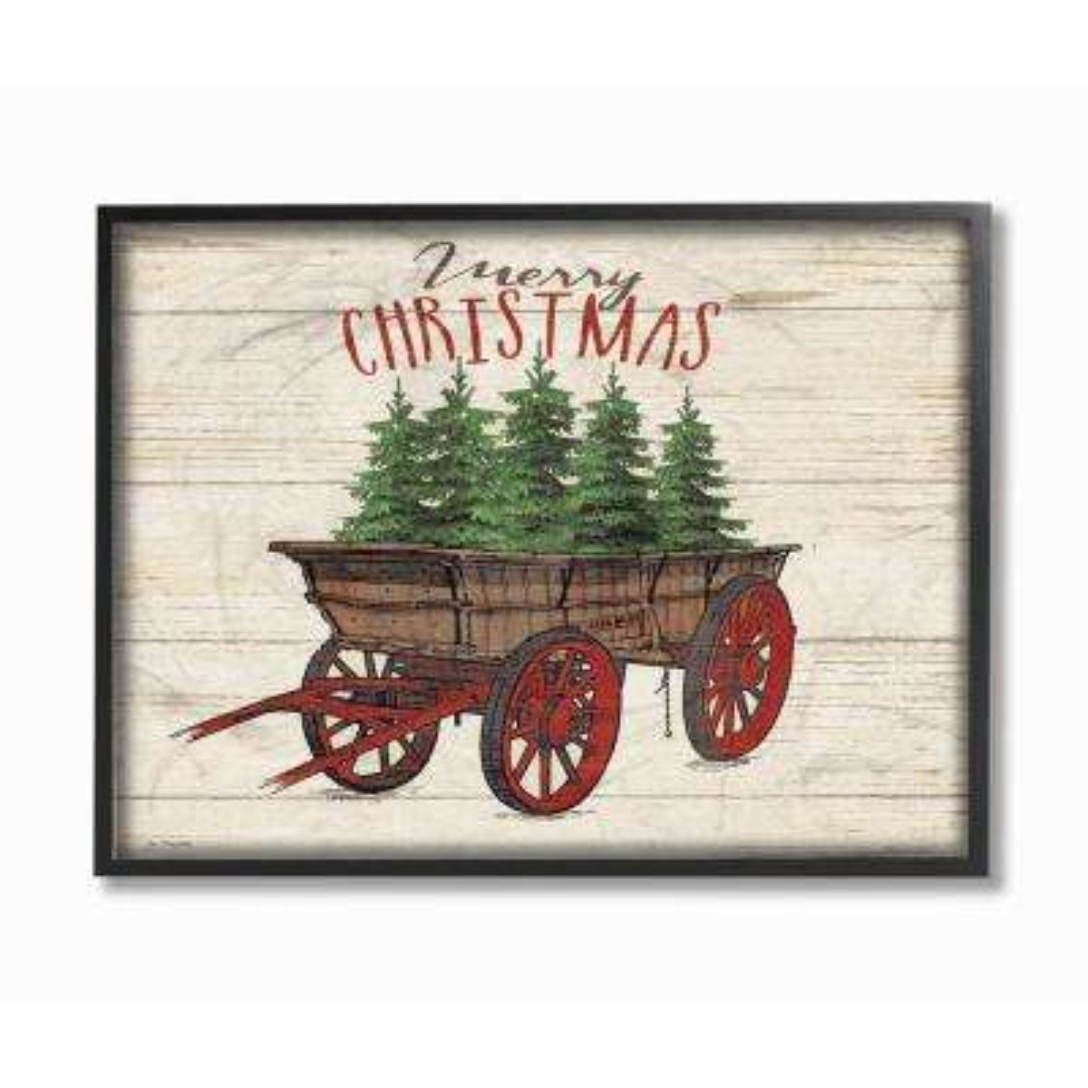 "11 in. x 14 in. ""Merry Christmas Tree Wagon"" by Jo Moulton Wood Framed Wall Art"