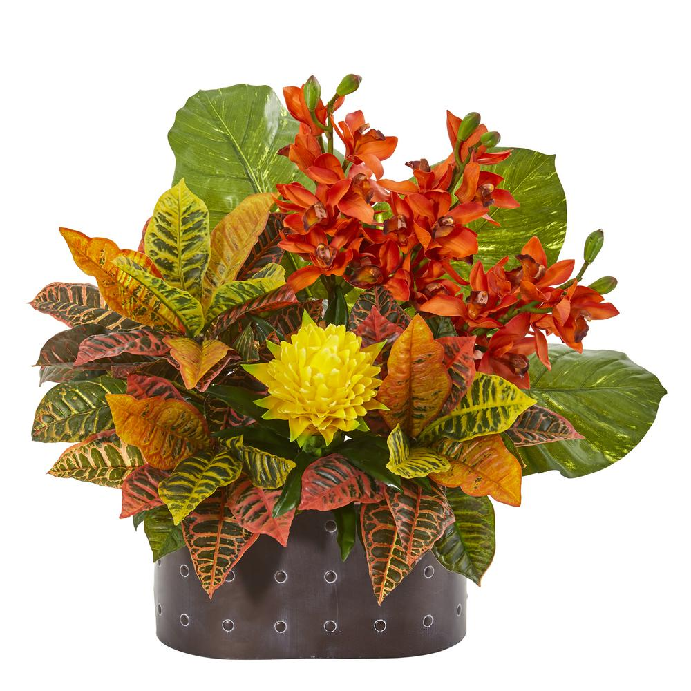 Nearly Natural 28 in. Cymbidium Orchid, Bromeliad, Croton and Pothos Artificial Plant