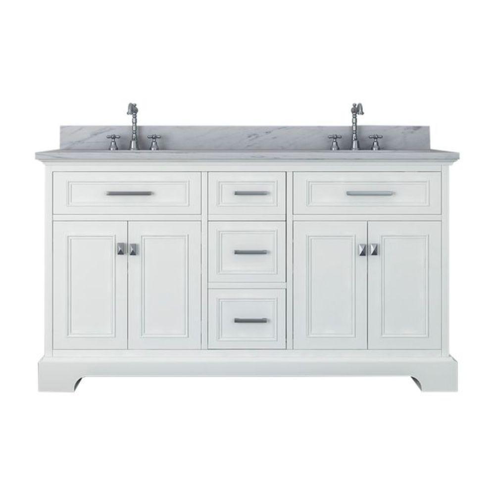 Yorkshire 61 in. W x 22 in. D Double Bath Vanity in White with Marble Vanity Top in White with White Basin