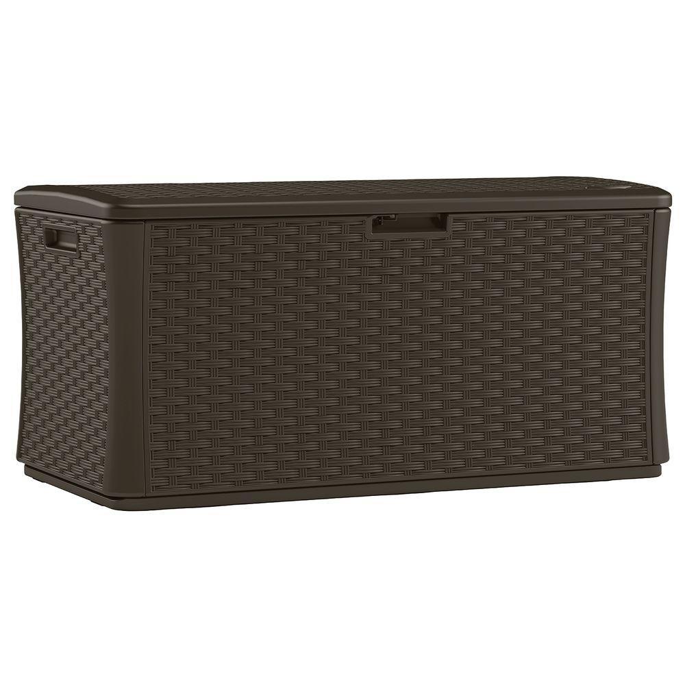 Deals on Java 134 Gal. Resin Wicker Deck Box