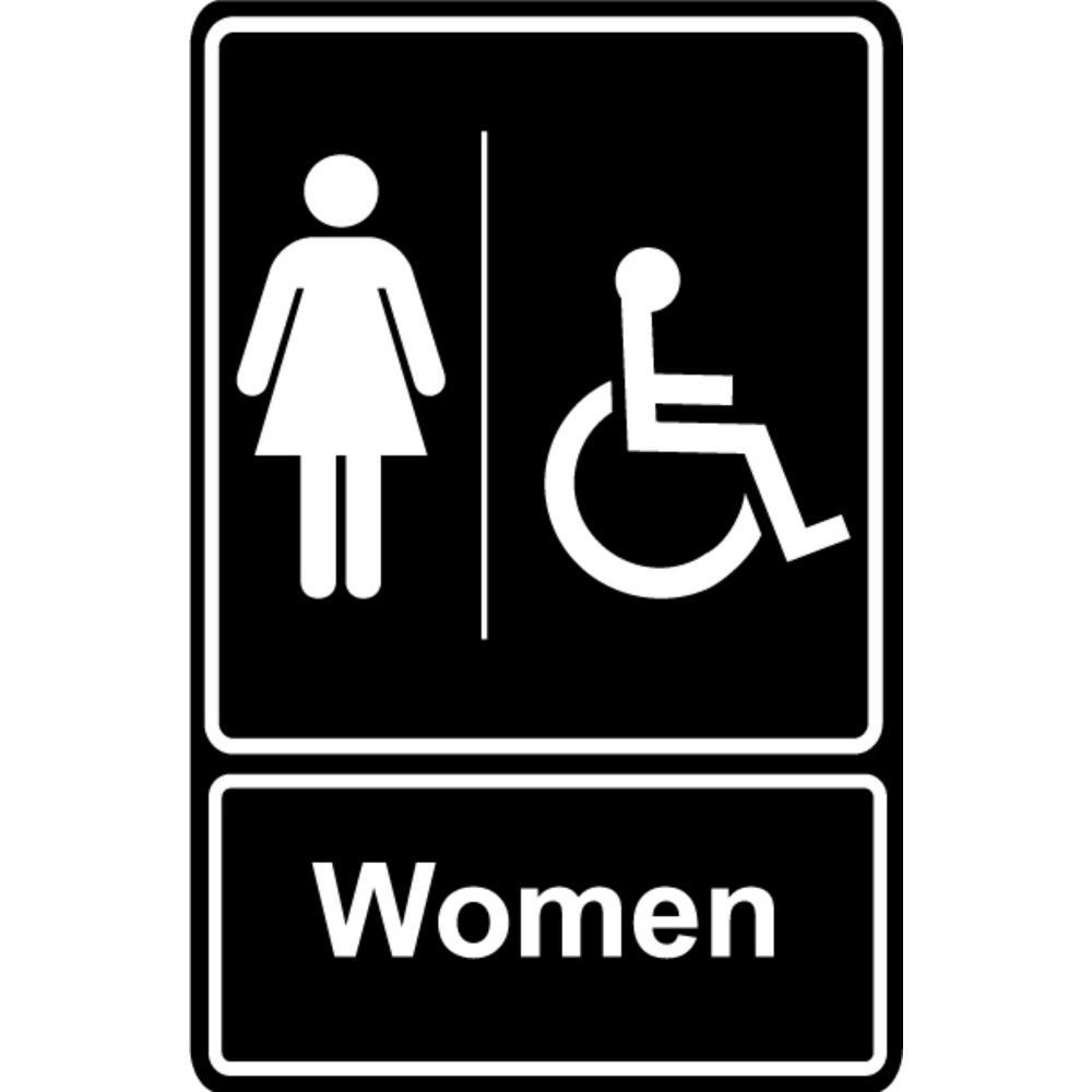 Promodor 5.5 in. x 6.5 in. Plastic Women Wheelchair Black Restroom Sign