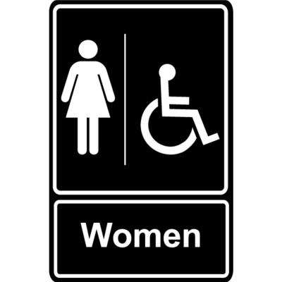 5.5 in. x 6.5 in. Plastic Women Wheelchair Black Restroom Sign