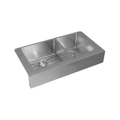 Crosstown Farmhouse Stainless Steel 36 in. Double Bowl Kitchen Sink with Bottom Grids and Drains