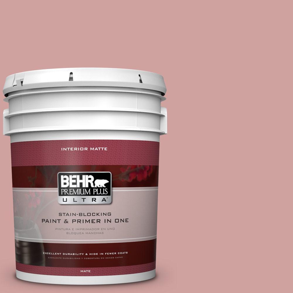 BEHR Premium Plus Ultra 5 gal. #S150-3 Rose Pottery Matte Interior Paint