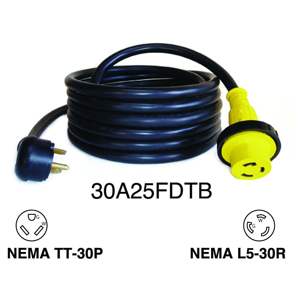 Miraculous Mighty Cord 25 Ft 30 Amp Rv Detachable Power Cord 30A25Fdtb The Wiring Cloud Hisonuggs Outletorg