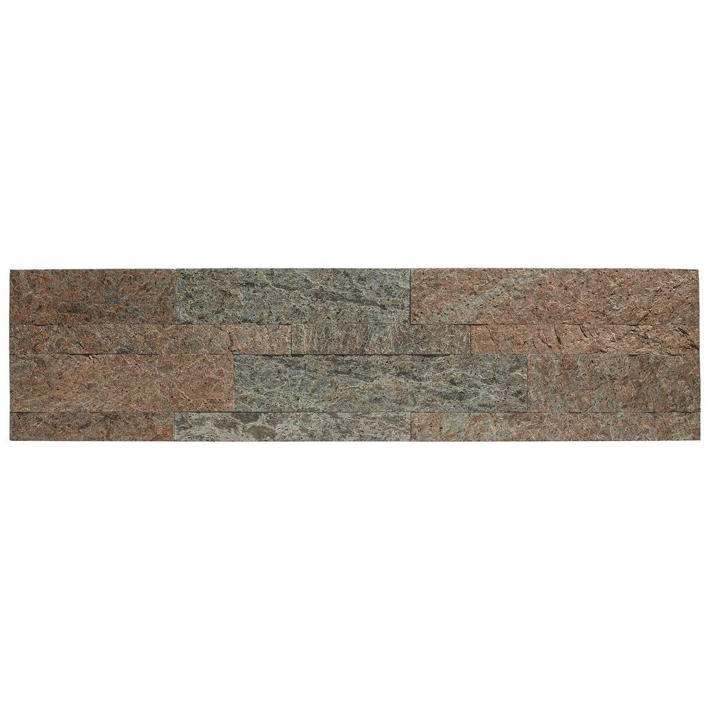 23.6 in. x 5.9 in. Tarnished Quartz Peel and Stick Stone Decorative Tile Backsplash
