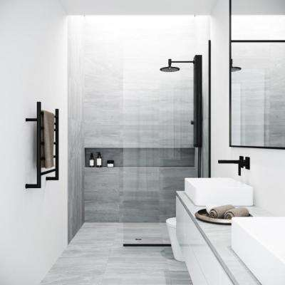 Zenith 34 in. x 74 in. Framed Fixed Shower Door in Matte Black with Clear Glass Without Handle