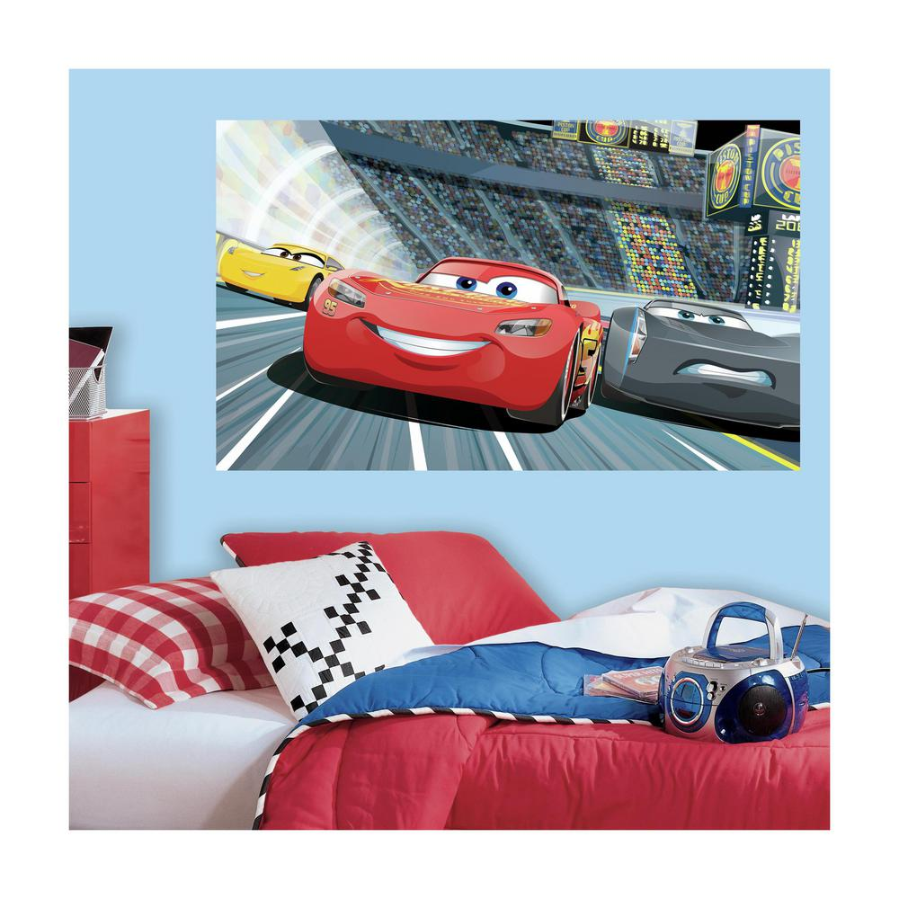 Roommates 60 in w x 36 in h cars 3 2 piece peel and stick wall h cars 3 2 piece peel and stick wall decal mural rmk3431psm the home depot amipublicfo Gallery