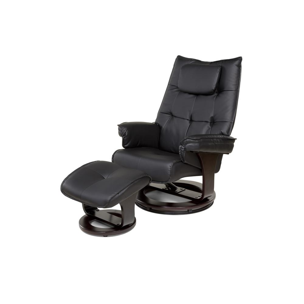 Black 8-Motor Massage Recliner with Lumbar Heat and Ottoman