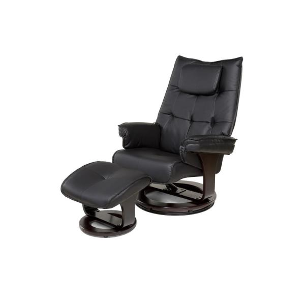 Black 8-Motor Massage Recliner with Lumbar Heat and Ottoman