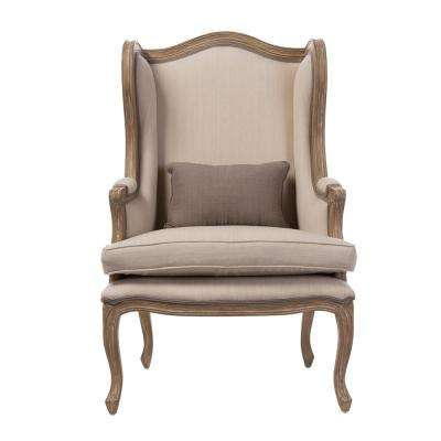 Oreille French Inspired Beige Fabric Upholstered Accent Chair