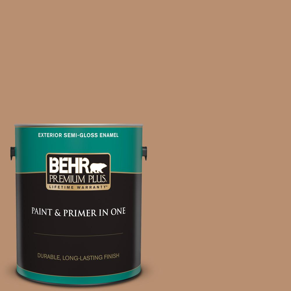 Behr Premium Plus 1 Gal S230 5 Sugar Maple Semi Gloss Enamel Exterior Paint And Primer In One 540001 The Home Depot