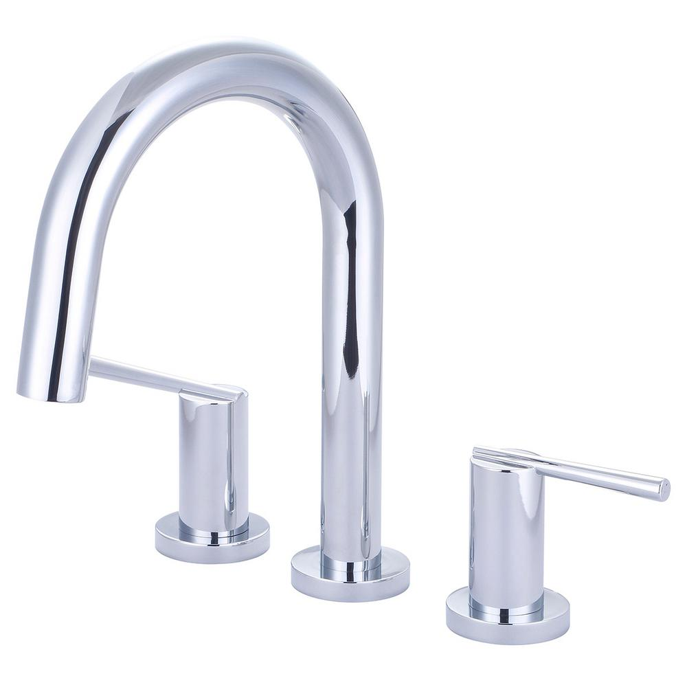 Olympia Faucets i2v 2-Handle Deck Mount Roman Tub Faucet with Gooseneck Spout in Polished Chrome